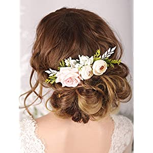 Kercisbeauty Floral Bridal Boho White Hair Comb Photo Shoot Hair Wreath Crown Spring Wedding Hair Piece Barrette Prom Girl Halloween Festival