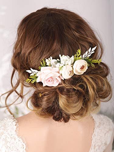 Kercisbeauty Floral Bridal Boho White Hair Comb Photo Shoot Hair Wreath Crown Spring Wedding Hair Piece Barrette Prom Girl Halloween Festival