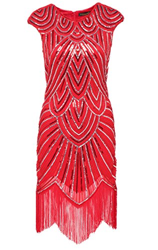[BABEYOND Women's Flapper Dresses 1920s Beaded Fringed Great Gatsby Dress] (1920 Dress)