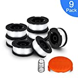 SUERW Line String Trimmer Replacement Spool, [9 Pack] 30ft 0.065'' Replacement Autofeed Spool for BLACK&DECKER String Trimmer [8 Replacement Line Spool, 1 Trimmer Cap]