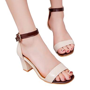 Sandalias Mujer Cuña Alpargatas Plataforma,JiaMeng Sandalias de Moda Tobillo Tacones Altos Block Party Zapatos de Punta Abierta los Zapatos Gruesos del ...