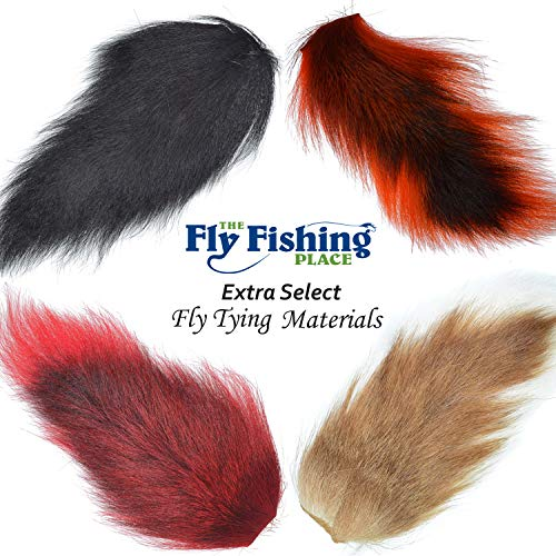 (The Fly Fishing Place Fly Tying Materials - Pro Grade Medium Bucktails Master Pack - 4 Colors - Natural White Black Red Orange Tube Fly Streamer Deer Tail Hair)