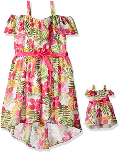 dollie-me-little-girls-hawaiian-floral-chiffon-dress-and-matching-doll-outfit-multi-pink-6