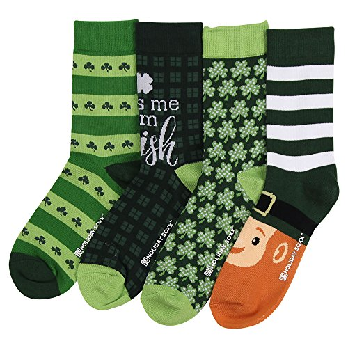 Womens Funny Funky Novelty Holiday Crew Socks (4 Pack) (St. Patricks Day