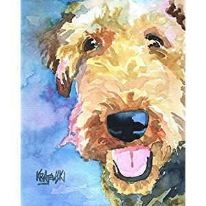 "Airedale Terrier Art Print | Airedale Terrier Gifts | From Original Watercolor Painting by Ron Krajewski | Hand Signed in 8x10"" and 11x14"" Sizes 1"