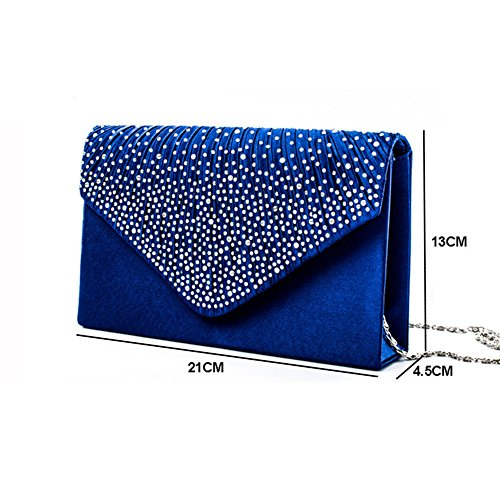 Rhinestone Bridal Evening Clutch Purse Handbag Sapphire Party Frosted Women Envelope 1S4wqRE1f