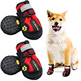 LLNstore Dog Shoes Dog Boots Rain Boots for Medium Large Dogs with Adjustable Reflective Straps Anti-Slip Sole Windproof (6, Red)