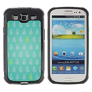 WAWU Funda Carcasa Bumper con Absorci??e Impactos y Anti-Ara??s Espalda Slim Rugged Armor -- tea tears green rain raindrops pattern polka dot -- Samsung Galaxy S3 I9300