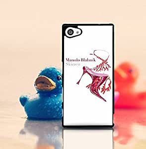 Luxury Series Classical Design Hard Plastic Funda Case Manolo Blahnik Hard Plastic Scratch-Proof Durable Unique Printed Tough Anti Dust Slim Shell Phone Cover For Xperia Z5 Compact - Jeaker (Only For Sony Z5 Compact)