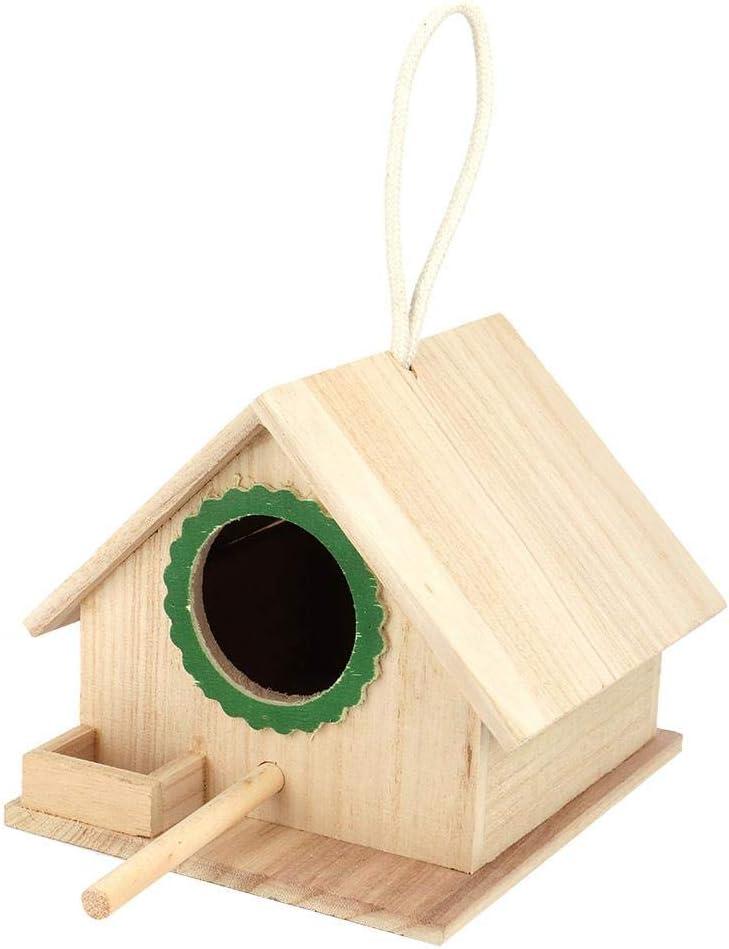 Mumusuki Múltiple casa de pájaros de Madera Durable Hanging Pine Birdfeeder para pájaros Estación de alimentación Parada de Descanso Jardín Patio Decoración(Verde)