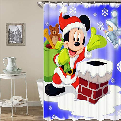 (BARTORI Simple Decor Shower Curtain The Mickey Mouse Cosplay The Santa Hold The Gifts Package with The Angel Waterproof Polyester Fabric Bath Curtain with 12pcs Hooks Size 71''X71'')
