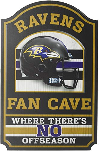 NFL Baltimore Ravens Fan Cave Wood Sign, 11
