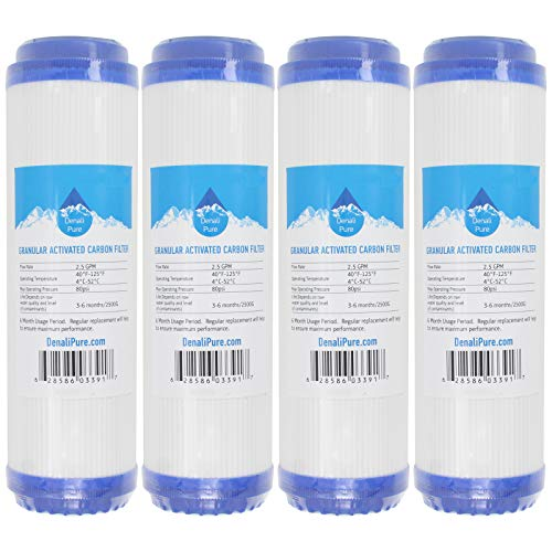 (4-Pack Replacement for Compatible with Aqua Pure AP101T Granular Activated Carbon Filter - Universal 10-inch Cartridge Compatible with Aqua Pure AP101T Whole House Water Filter - Denali Pure Brand)