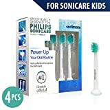 Kids Brush Head | Generic Philips Sonicare Replacement Tootbrush Heads for Philips Sonicare Kids - 4 Pack ( Fit: HX6032 HX6042 HX6311 HX6320 HX6321 HX6322 HX6330 HX6340 HX6341 HX6342 HX6362 HX6381 )