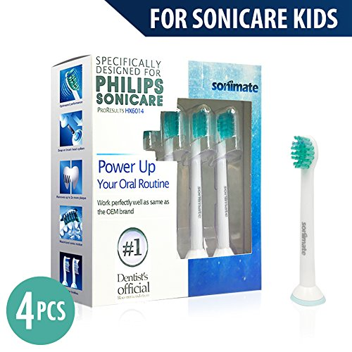 Kids Brush Head | Generic Philips Sonicare Replacement Tootbrush Heads for Philips Sonicare Kids – 4 Pack ( Fit: HX6032 HX6042 HX6311 HX6320 HX6321 HX6322 HX6330 HX6340 HX6341 HX6342 HX6362 HX6381 )
