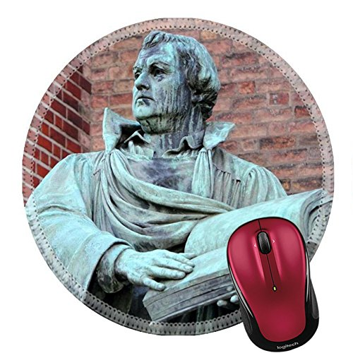 Liili Round Mouse Pad Natural Rubber Mousepad Martin Luther sculpture of Martin Luther in front of St Marien Church Berlin Photo 8807233
