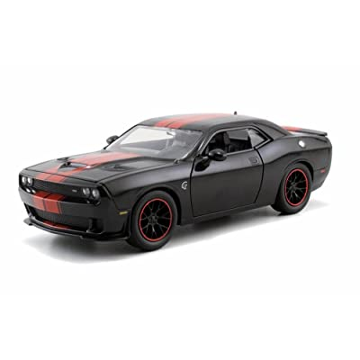 Jada 2015 1:24 Dodge Challenger SRT Hellcat Black with Red Stripes, Multicolor: Toys & Games