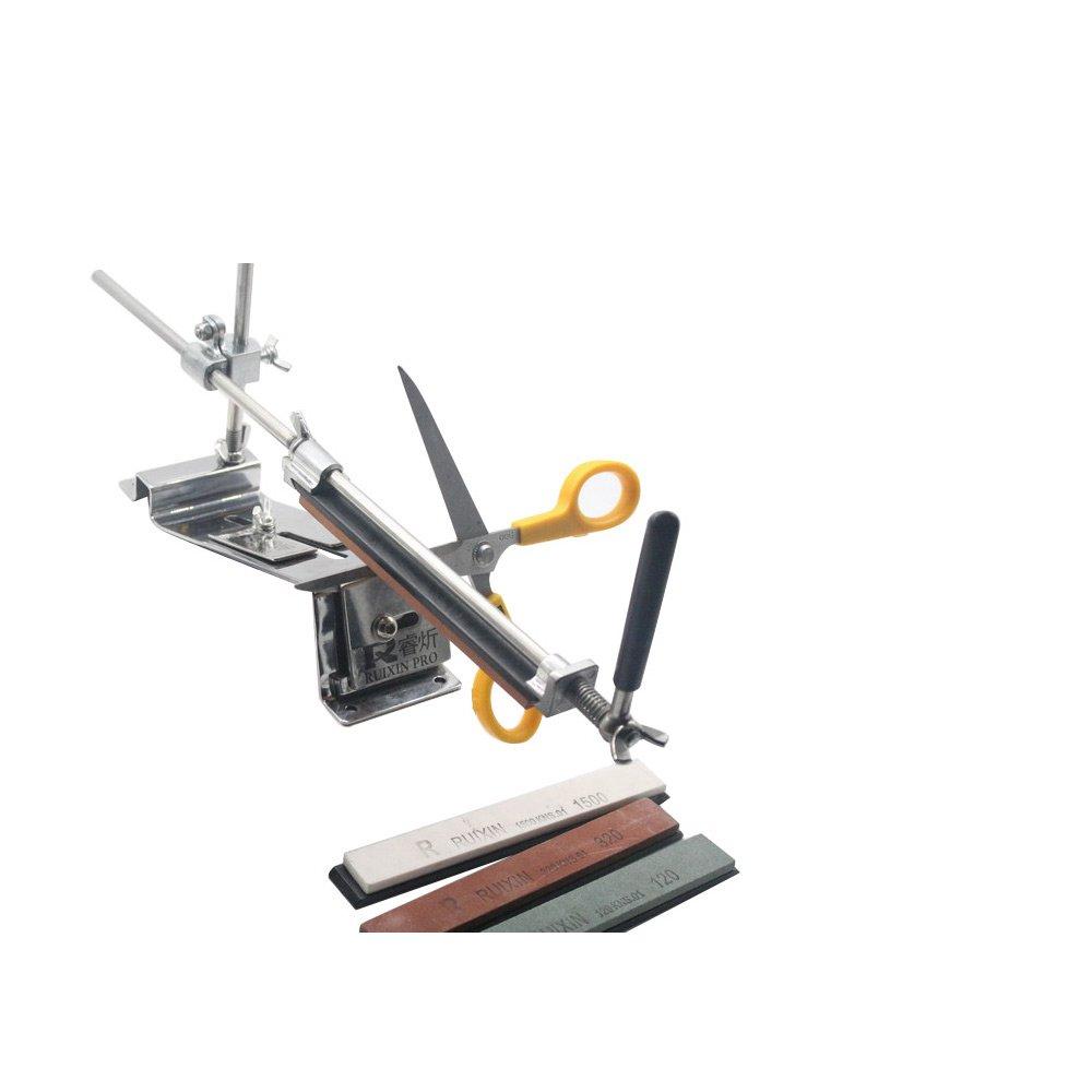 KKmoon, Afilador De Cuchillos Profesional, Acero Inoxidable de Metal completo, Amoladora De Cocina Afilado Sistema Angular, con 4 Esmeril Actualizar ...