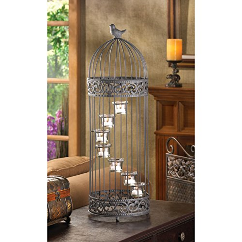 Tealight Candle Holders Unity Pillar Lantern Wedding Iron Votive Dining Centerpiece Decorative Bird Cage (Calla Votive)