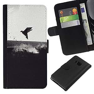 KLONGSHOP // Tirón de la caja Cartera de cuero con ranuras para tarjetas - Pájaro de mar Negro Blanco Emo Oscuro Profundo - HTC One M9 //