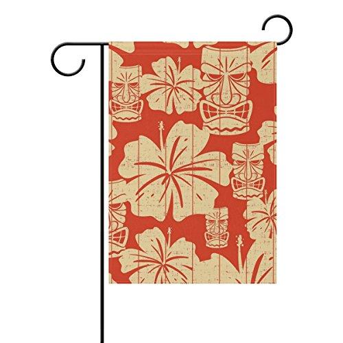 "LEISISI Hawaiian Tiki Mask Garden flag 28""X40"" Two Sided Yar"