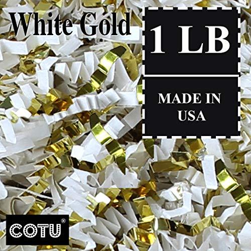 1 LB Premium White Gold Metallic Mix Crinkle Shred Gift Basket Shred Crinkle Paper Filler Bedding by COTU (8 oz)