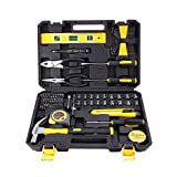 78PCS Home inprovement Tool Kit, Household repairing Mixed Tool Set, with Plastic Blow Molded Tool Box Storage Case,Daily Use