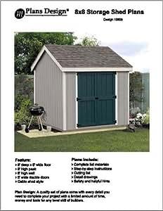 8' X 8'Gable Storage Shed Floor Plans -Design #10808