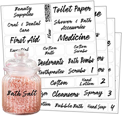 Bathroom Beauty Clear Labels: 85 Classy Gloss Preprinted Water Resistant Label Set to Organize Bathroom Vanity, Cabinet & Closet w/Extra Write-on Stickers ()