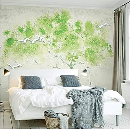Yfxgstli Papier Peint Panoramique Murale 3d Oiseaux Verts Un Arbre