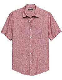 Mens Short Sleeve Red Slim-Fit Red Linen Blend Button Down Shirt