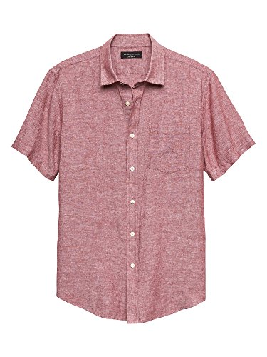 Banana Republic Mens Short Sleeve Red Slim-Fit Red Linen Blend Button Down Shirt (XL) ()