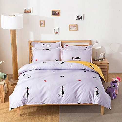 Fashion Design Kids Bedding Sets 4pcs Bed sheet Duvet Cover Pillow Cases Twin Full Queen Size (Full, Cute Cat, Grey) (Cute Bed Sheets)
