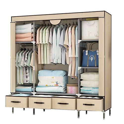 (ALWUD Portable Wardrobe Clothes Storage Organizer, Big Closet Shelves with Hanging Rod 4 Drawer Zip Cloth Wardrobe,Beige_59x67x17.7inch)