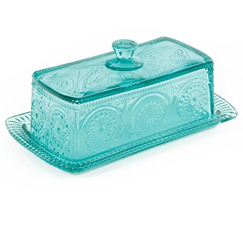 The Pioneer Woman Adeline Glass Butter Dish - Teal