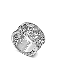 Pave Filigree Cubic Zirconia Ring 12MM Sterling Silver 925