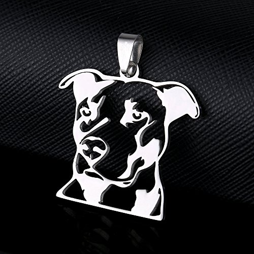Stainless steel natural ear pitbull pit bull staffordshire bull stainless steel natural ear pitbull pit bull staffordshire bull terrier dog head outline pet dog tag breed collar charm pendant necklace aloadofball Gallery