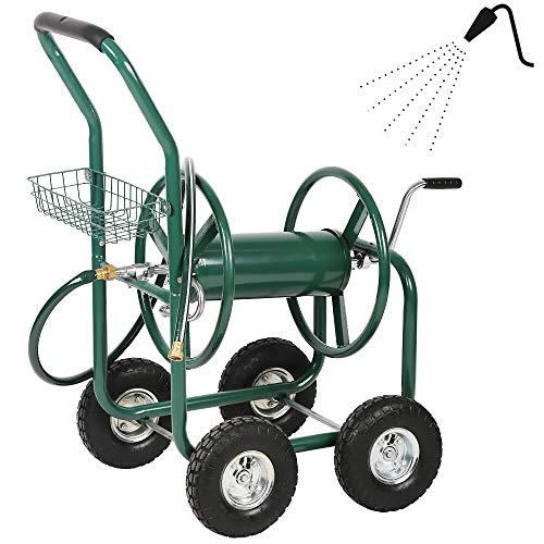 FFBag Metal Garden Hose Reel Cart with Wheels Outdoor Water Hose Heavy Duty Holder Yard Carts 4 Wheel with Storage Basket Yard Water Truck