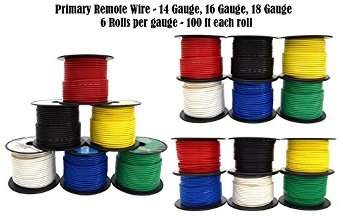 14 16 18 GA 100 Feet Single Conductor Stranded Remote Wire 18 Rolls 1800 Feet 18 Gauge Stranded Single Conductor