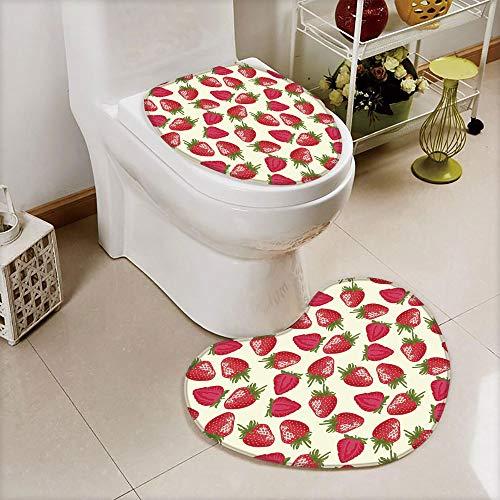 iPrint 2 pcs Toilet Cover Set Non-Slip mat Bathroom Non-Slip mat,Plant Vitamin Organic Diet Refreshing Image,3D Print Heart Shape Toilet seat Cushion Customized Fashion