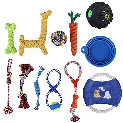 HBPET Dog Toys Value Pack 11 Pcs Puppy Pet Dog Toy Gift Set,Dog Teething Training Funny Toys-Rope Toys,Squeaky Ball,Chew Toys,Frisbee and Collapsible Silicone Pet Bowl HBCW12-Pack