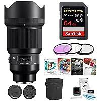 Focus Sigma 85mm f/1.4 DG HSM Art Lens (Sony Mount) w/64GB SD Card & Corel Software Kit