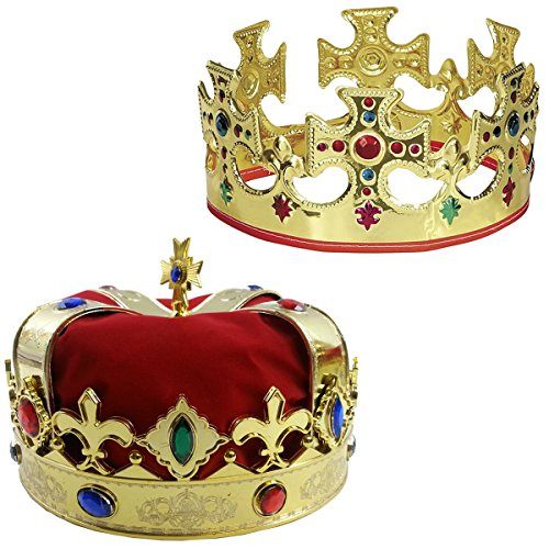 Funny Party Hats Adjustable Gold Crown and a Red Jeweld Crown ()