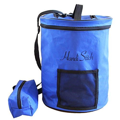 Handi Stitch Lightweight Knitting Yarn Storage Bag, Tote Organizer, Knitting Bag, Yarn Holder with pockets/Protect and Store Yarn, Crochet Hooks, Needles and Wool - Knitting Tote Bag by Blue