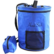 Handi Stitch Lightweight Knitting Yarn Storage Bag, Tote Organizer, Knitting Bag, Yarn Holder with pockets/Protect and Store Yarn, Crochet Hooks, Needles and Wool - Knitting Tote Bag by Blue