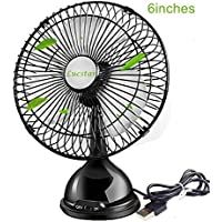 Lucstar Small 6 Inch Table Desk Pedestal Fan with Quiet Powerful Wind Charged by USB Port PC Laptop Fan for Office, Home, Living Room Bedroom Sleep,Elegant Black