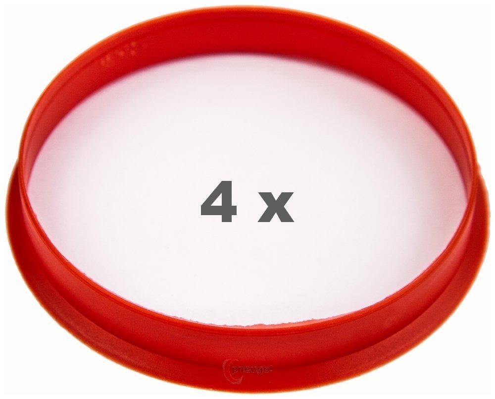 4 x Zentrierringe 66.6 mm auf 63.4 mm rot//red