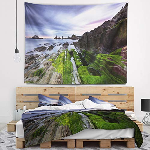 Designart TAP9417-60-50 'Gueirua Beach in Spain' Seashore Photography Tapestry Blanket Décor Wall Art for Home and Office, Large: 60 in. x 50 in. by Designart