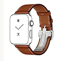 Apple Watch Band,CNBEYOUNG 38mm iWatch Band Strap Premium Genuine Leather Replacement Watchband with Deployment Buckle for All Apple Watch Sport Edition (38mm Brown)