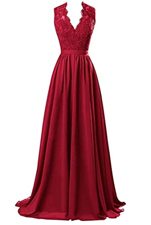 Baijinbai Womens Modest V Neck Open Back Long Evening Dresses Prom Gown with Lace Burgundy UK26